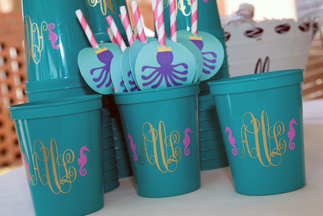 Monogrammed Seahorse Cups