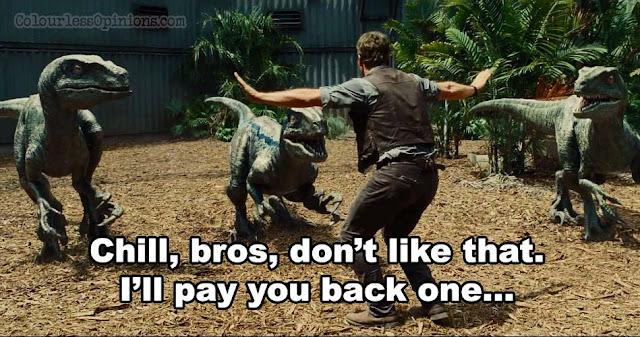 Jurassic World meme chill bro raptors pratt