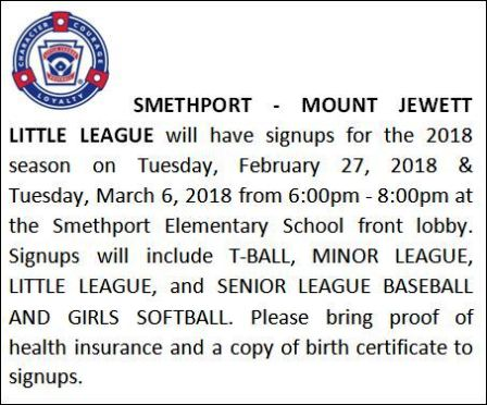 2-27/3-6 Little League Signups, Smethport, Mt. Jewett
