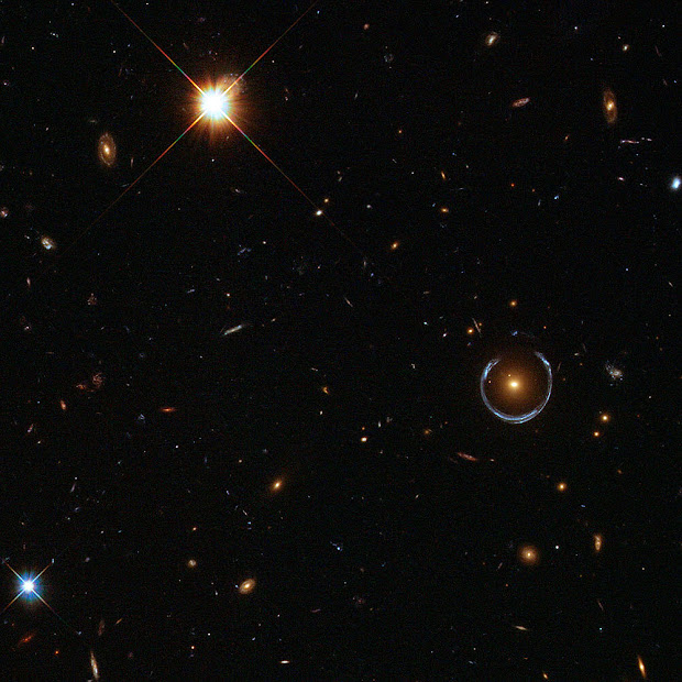 LRG 3-757, the Cosmic Horseshoe, as viewed by Hubble