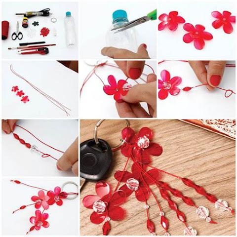 cara membuat gantungan kunci bunga dari botol plastik