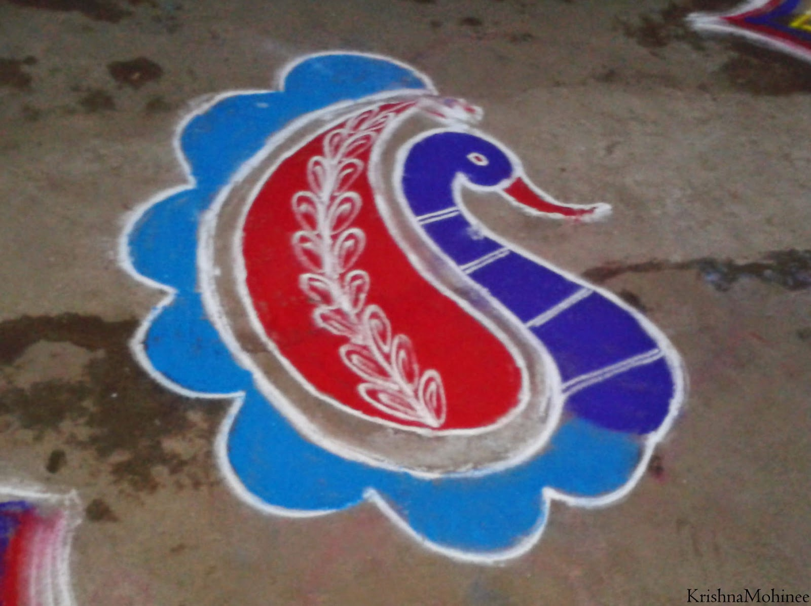 Image: Beautiful peacock drawn by Rangoli for the auspecious Ramnavmi day celebrations
