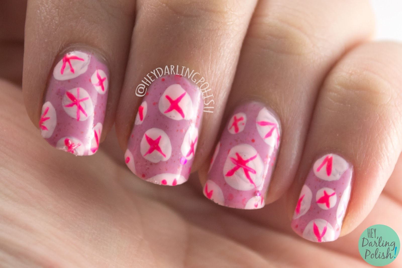 nails, nail art, nail polish, pink, hey darling polish, polka dots, stripes, pattern, nail linkup