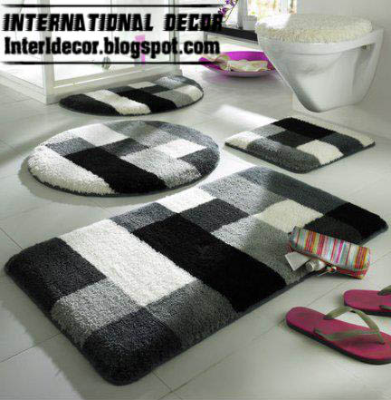10 modern bathroom rug sets baths rug sets models for Black and white bathroom sets