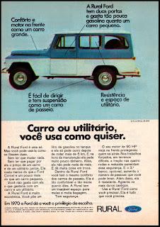 propaganda Ford Rural Willys - 1970; propaganda década de 70; os anos 70; Oswaldo Hernandez; brazilian ad cars in the 70's