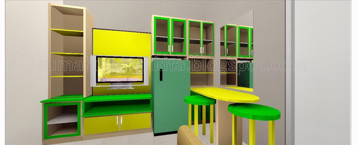 rak tv multifungsi menyatu dengan kitchen set dan meja bar