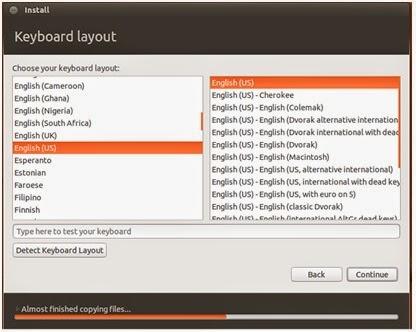 Pemilihan jenis layout keyboard