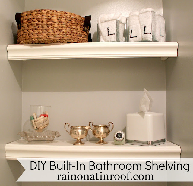 DIY Built-In Bathroom Shelving {rainonatinroof.com} #bathroom #shelving #storage #DIY