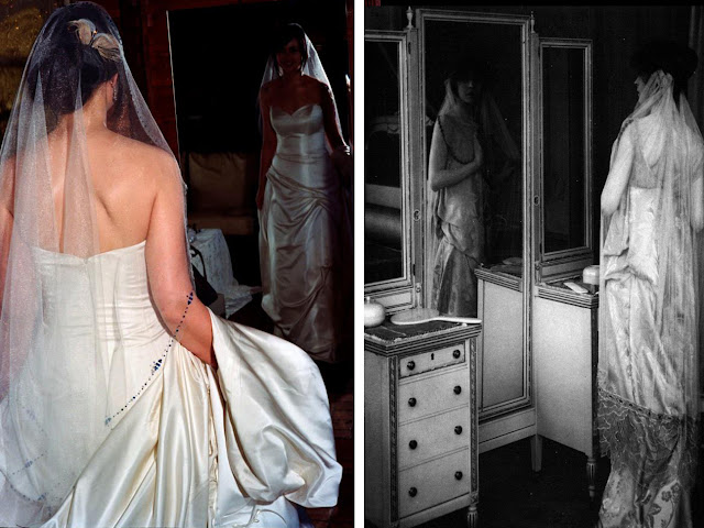 Bridal portraits 100 years apart