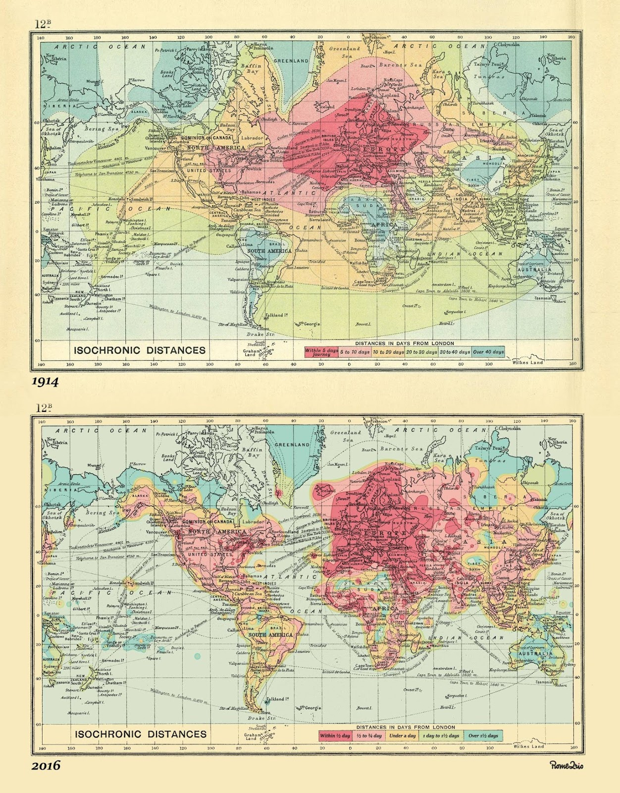 A 2016 version of the 1914 isochronic London / World travel times map