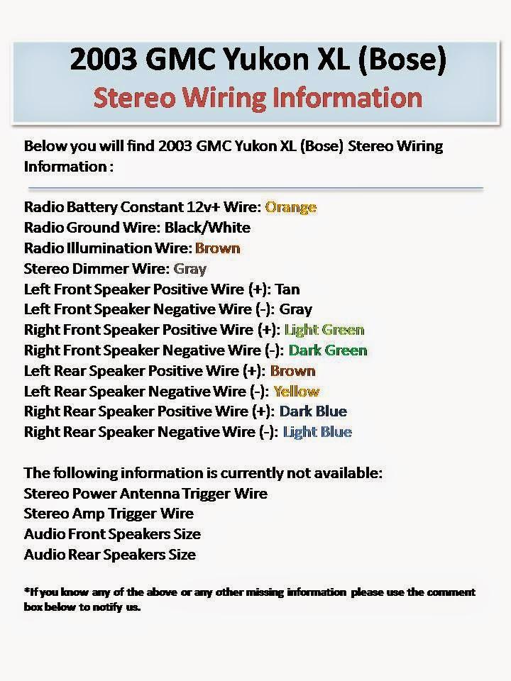 2003 GMC Yukon XL Bose Stereo Wiring Information 2000 gmc radio wiring diagram,radio download free printable wiring,2001 Gmc Sonoma Ignition Wiring Diagram