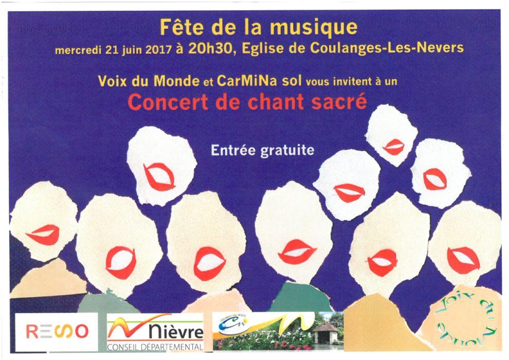 Concert de musique sacrée mercredi 21 juin, 20h30, Eglise de Coulanges-Les-Nevers