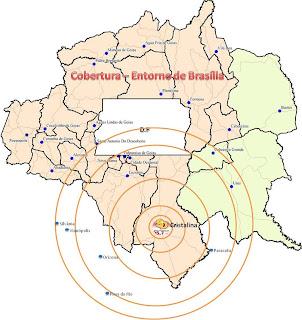 Mapa de Cobertura da Rádio Serra Dourada FM no Entorno de Brasília