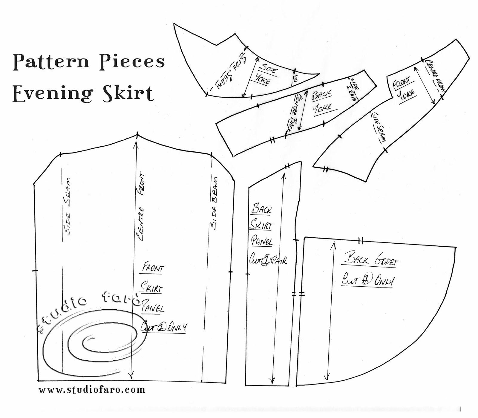 выкройку юбки с заниженной талией на поясе кокетке