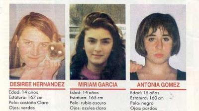 Cartel con las tres niñas de Alcácer (Alcàsser): Miriam García, Toñi Gómez y Desirée Hernández.