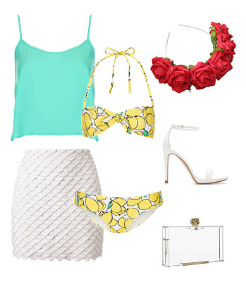 uk fashion, beach outfit, uk style, lemon bikini, see through clutch with red rose crown headband from roses and clementines styled with white high heels from zara