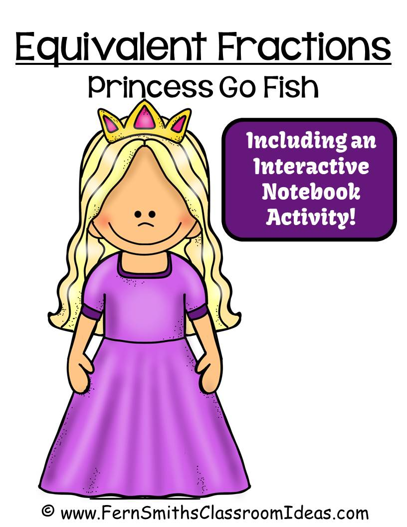 Fern Smith's Classroom Ideas FREE Go Princess Equivalent Fractions Go Fish Card Game