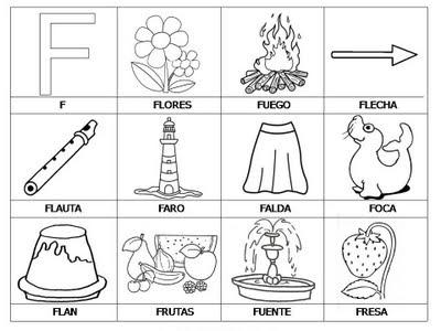 Laminas con dibujos para aprender palabras y colorear con letra: F ...