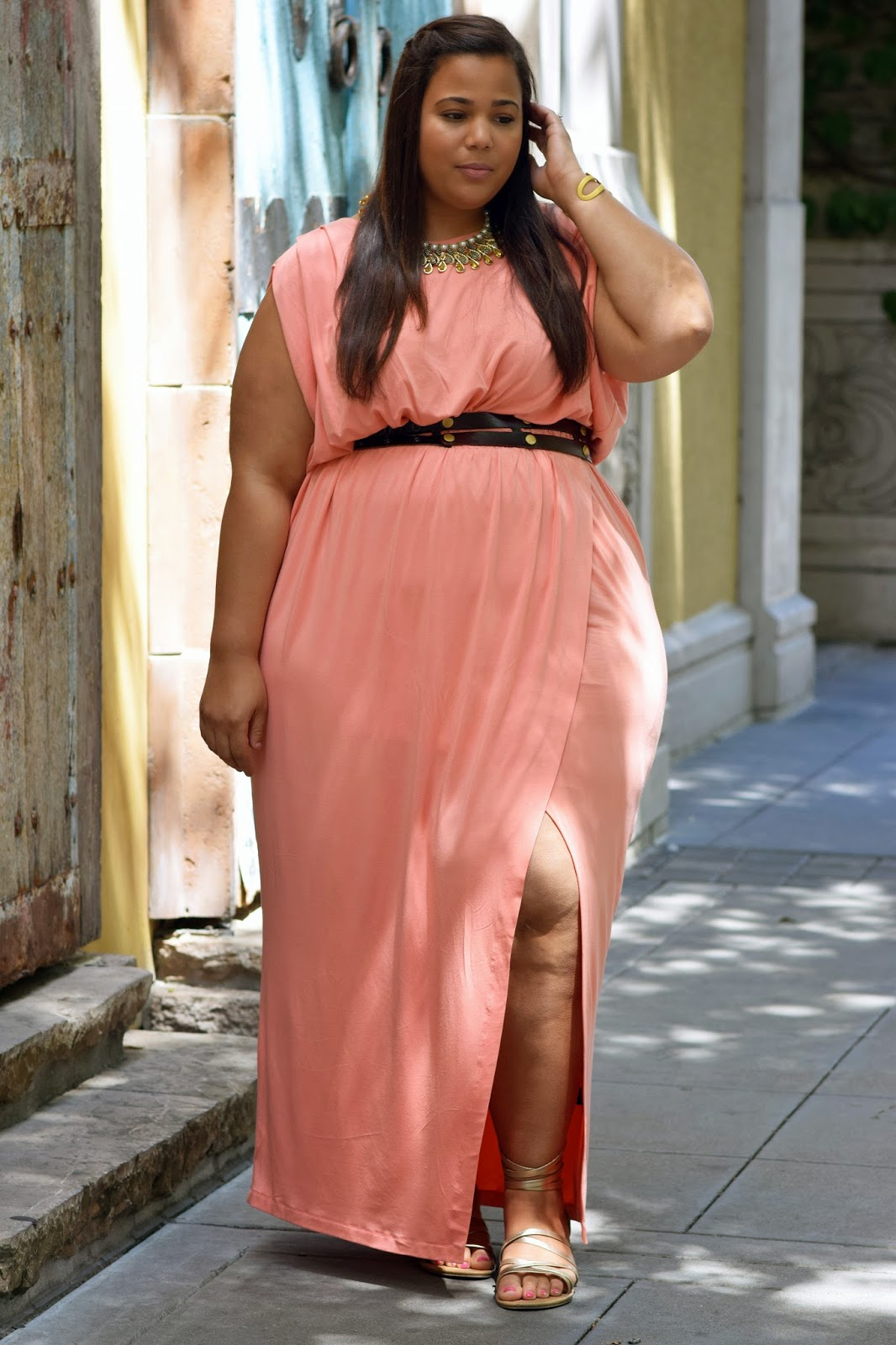 Plus Size Grecian Maxi Dress