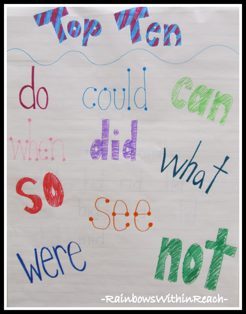 "Anchor Chart of ""Top Ten"" Sight Words (Round-Up of all things Word-Wall by RainbowsWithinReach)"