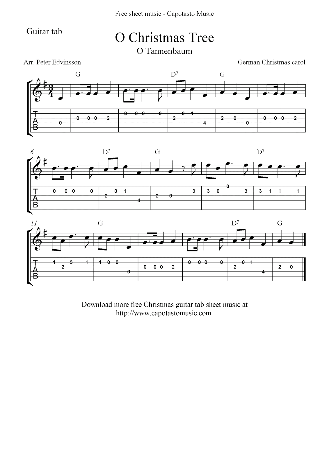 Free Christmas Guitar Tab Sheet Music - recorder white christmas sheet music guitar chords easy ...