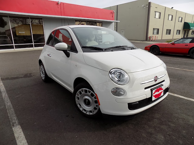 Fiat 500 before complete color change at Almost Everything Auto Body