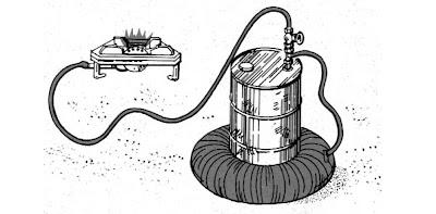 Cocina con generador de biogas casero.