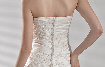 Princesse bretelles Applique perles satin robe de mariée
