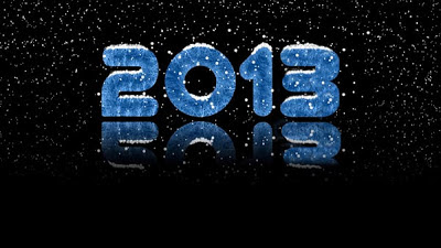 newyear+2013+blue text+black BG+snowfall+wallpapers