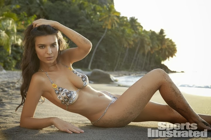 Emily ratajkowski shows off body paint bikinis for the sports
