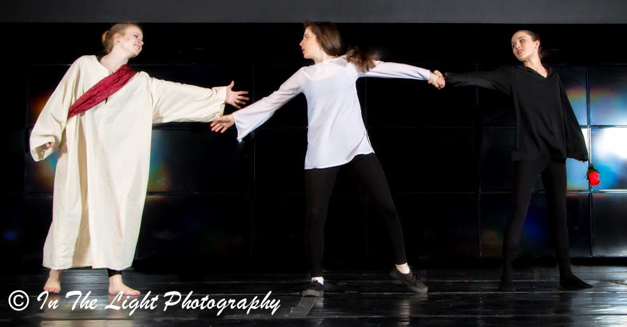 Performance Art Dance: Seduction Pulls Man Away From God, Experience Arts School, In the Light Photography