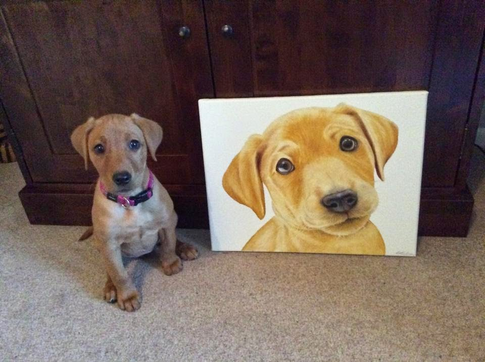 Pet Portrait Labrador Puppy Oil on Canvas