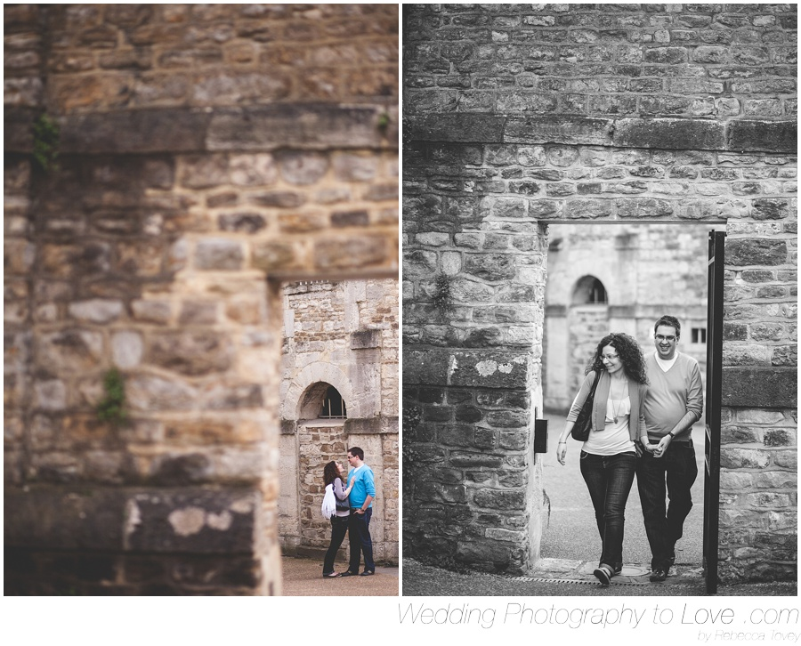 couple walking in oxford castle