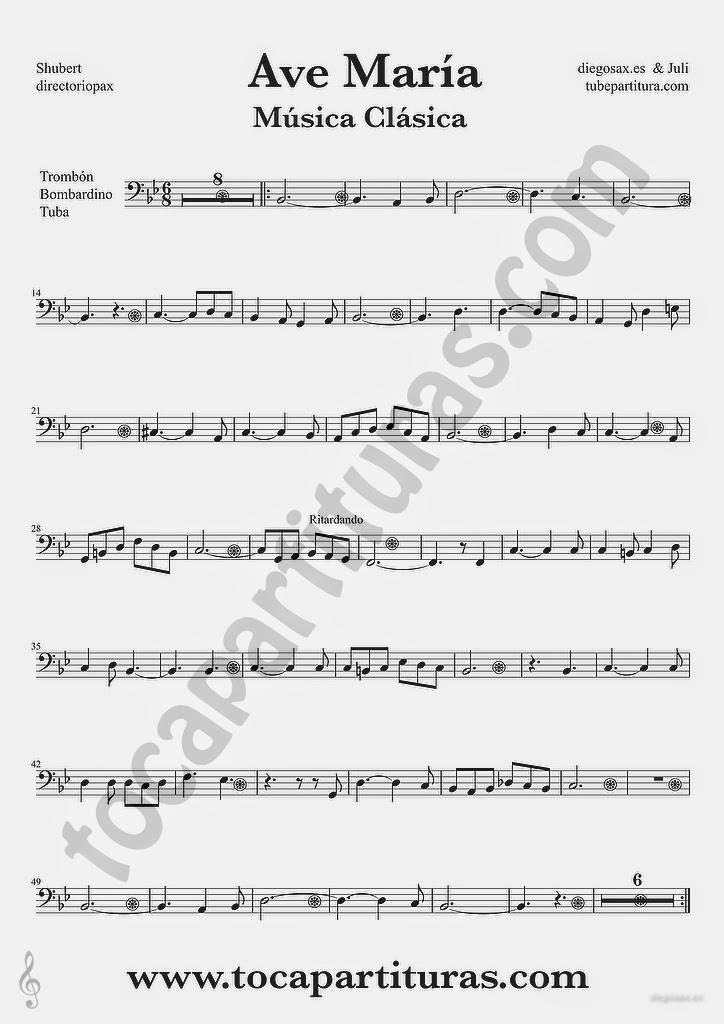 Tubepartitura Ave María de Schubert partitura de Trombón Tuba y Bombardino en clave de fa