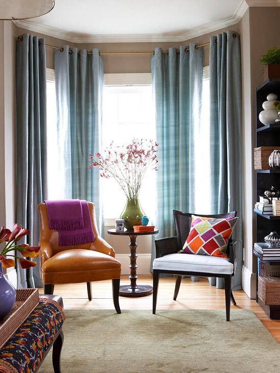 inspirations for bay window dressing shine your light. Black Bedroom Furniture Sets. Home Design Ideas