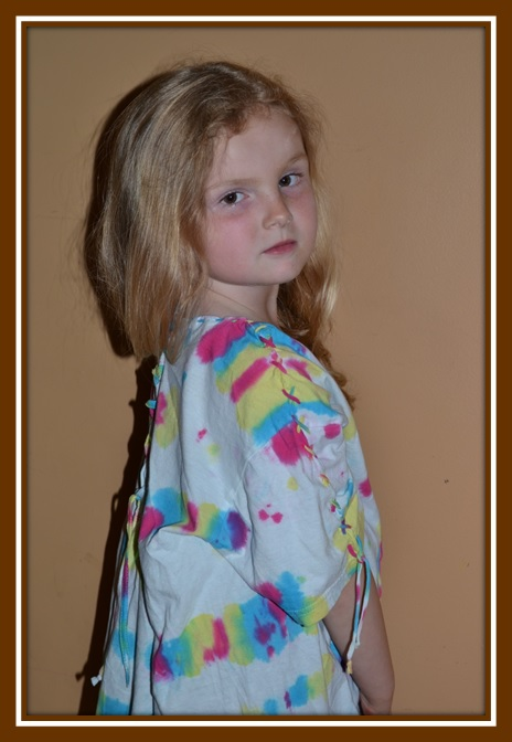 Adult T-Shirt Transformed Into Child's Beach Cover Up