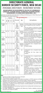 Applications invited for BSF Water Wing Recruitments 2015 as SI Post, Head Constable Post and Constable Posts