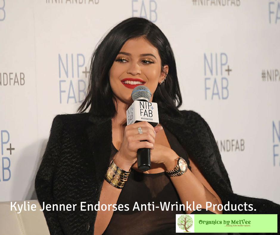 kylie jenner endorses anti wrinkle nip+fab organics by melvee