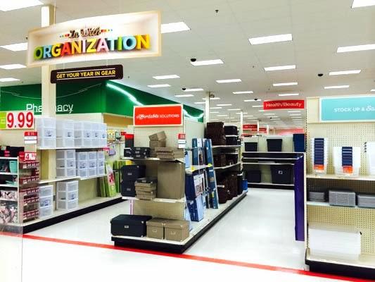 Target after christmas organizational display