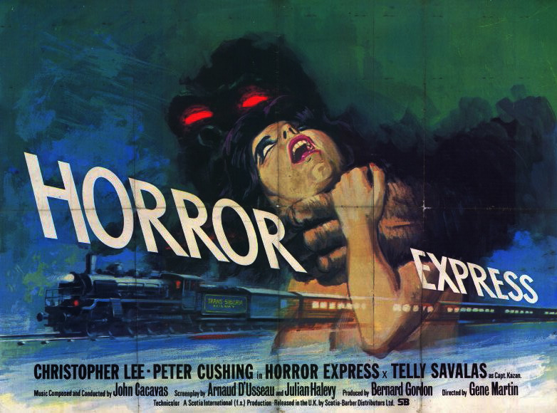 Horror Express Vintage 1972 Film Poster Starring Christopher Lee, Peter Cushing, with Telly Savalas