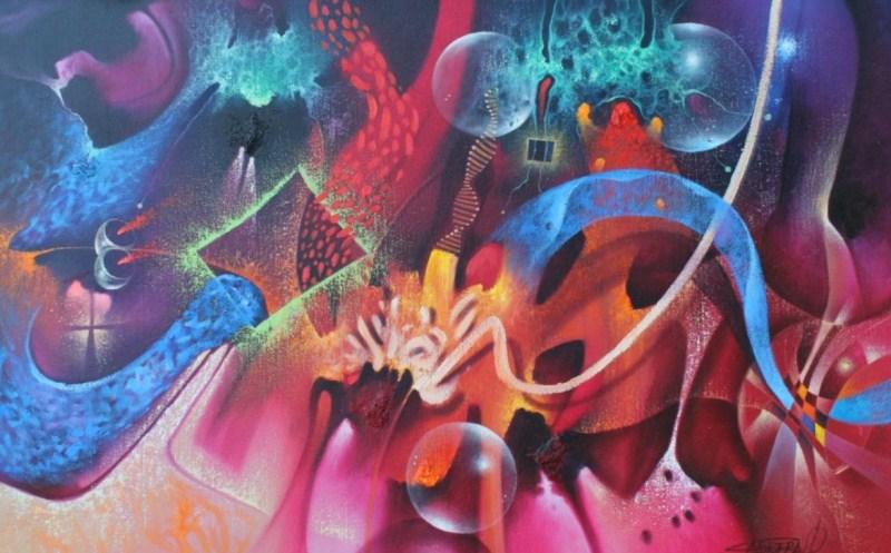 Cuadros pinturas oleos arte moderno en colores vivos - Cuadros colores vivos ...