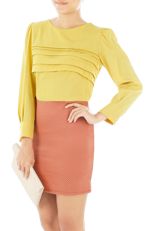 Dreamy Long Sleeve Blouse in Canary Yellow