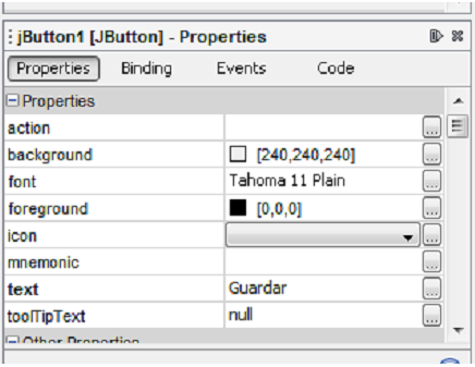 Ventana propiedades del componente jbutton en netbeans ide