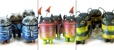 Leecifer x Dragatomi Custom Android Blind Box Series - Skele Droid, Imp Droid & Bee Droid Vinyl Figures