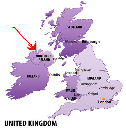 Map Located of Northern Ireland in UK