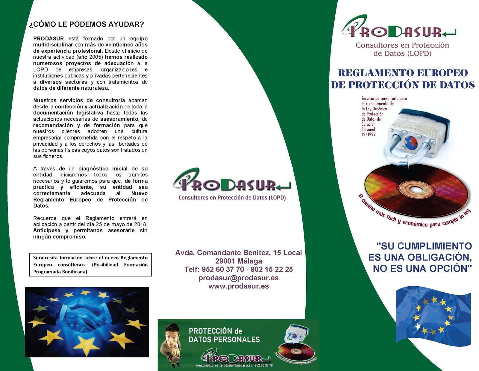 TRIPTICO RGPD - REGLAMENTO EUROPEO PROTECCION DE DATOS