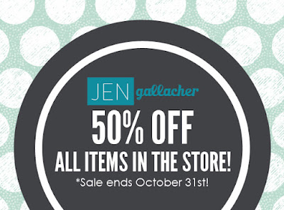Save 50% off all www.jengallacher.com store items through 10/31/15. http://jen-gallacher.mybigcommerce.com/sale/
