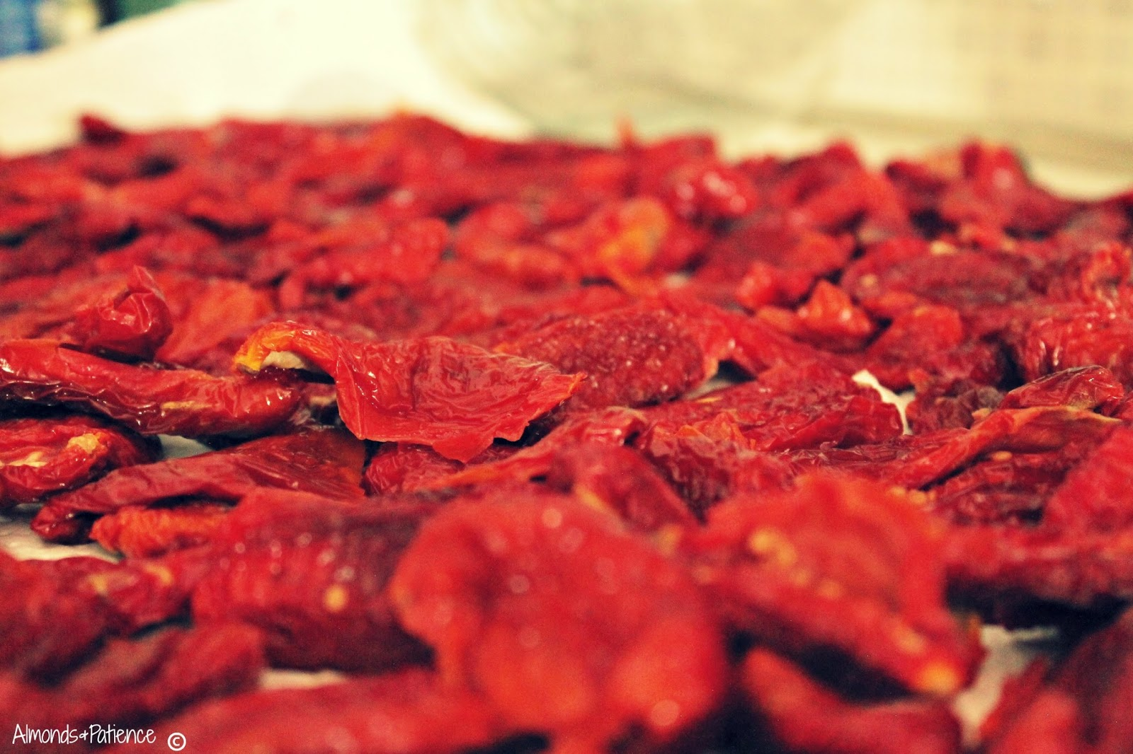 Sun dried tomatoes, about 1kg. Rinse them water twice and then leave ...