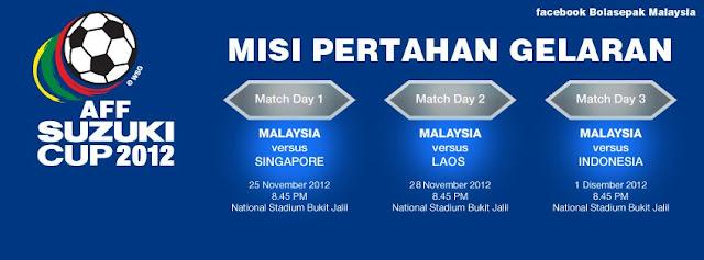 Jadual Perlawanan Pasukan Malaysia Piala AFF Suzuki 2012