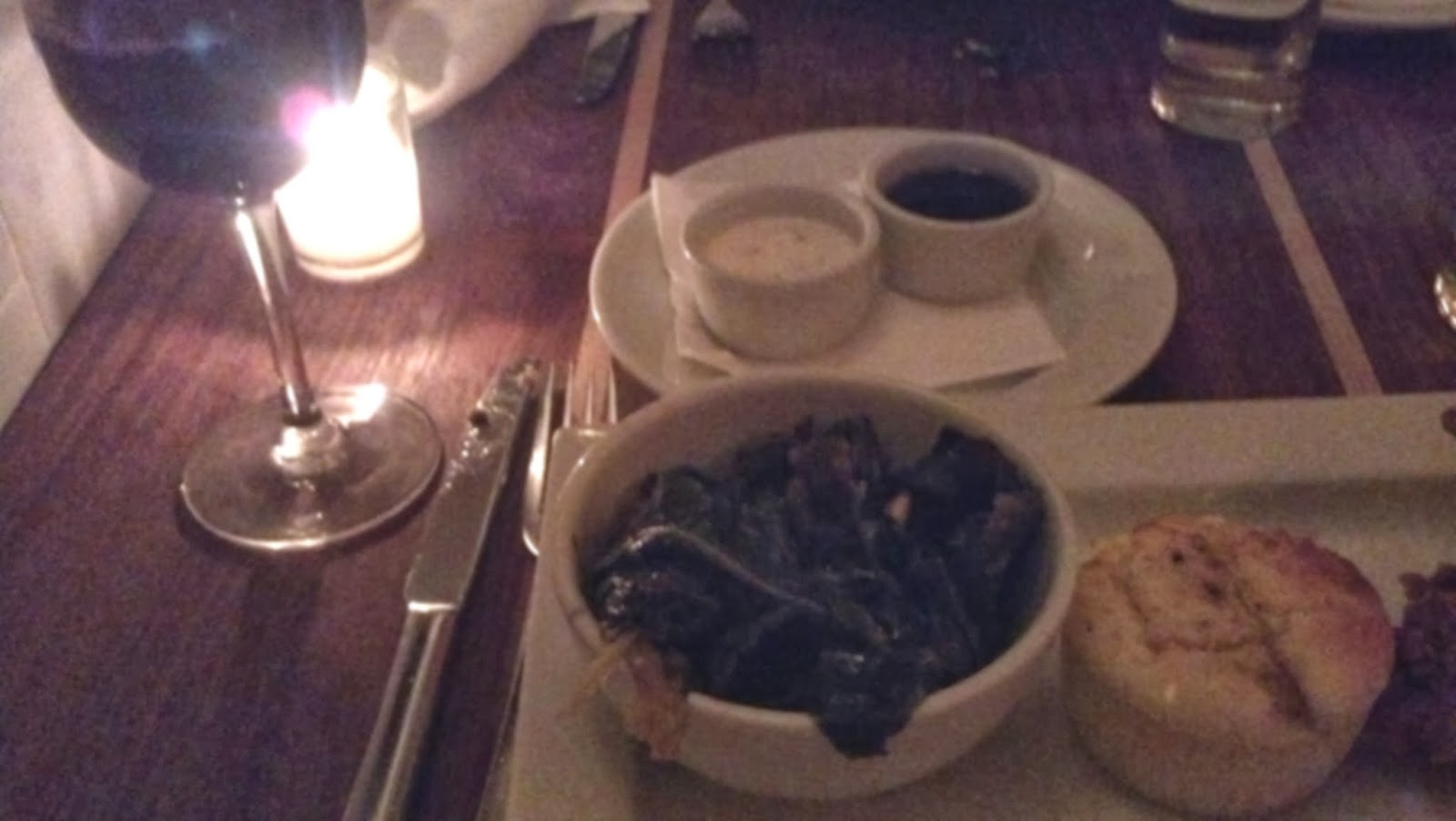 Greens and Cornbread, Red Wine at Mayfield, Brooklyn